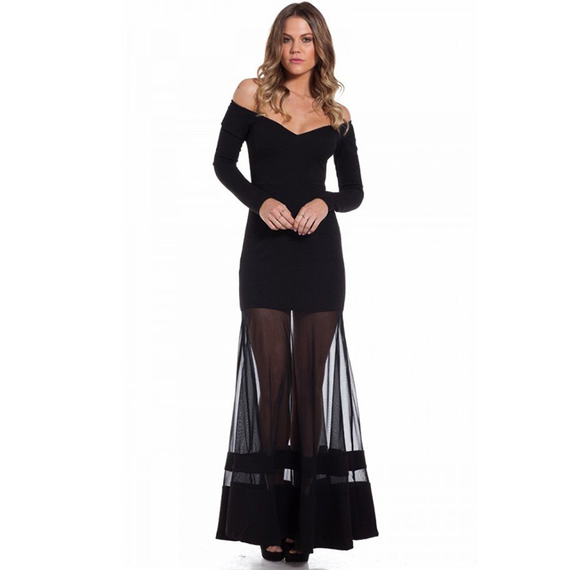 R70229 New long sleeve sexy dress summer unique design 2016 black dress off ther shoulder cheap clothes china women long dress(China (Mainland))
