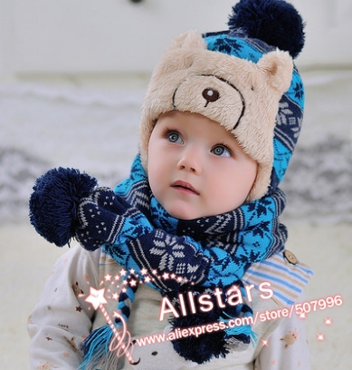 Free shipping boy girl unisex cotton knitted winter thick infant baby hat scarf set kid child red blue gray 3 color h-0149(China (Mainland))