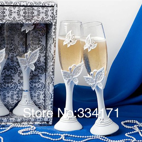 Wedding gift fashion gift wedding supplies Butterfly Design Wedding Resin Handle Toasting Flutes(China (Mainland))