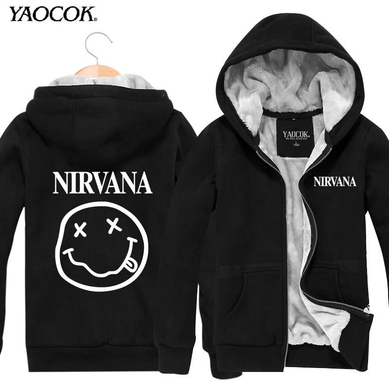 2016 Men Hoodies Mens Sweatshirt Design Printed Nirvana Winter Zip Cardigan Thickening Plus Velvet Jacket Active Sportswear Coat(China (Mainland))