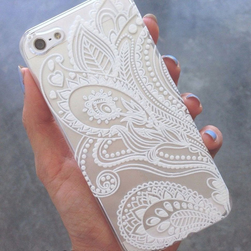 Malloo 2017 Henna White Floral Flower Slim Plastic Hard Cell Phones Case Cover Skin Mobile Phone Accessories For iPhone 5 5S(China (Mainland))
