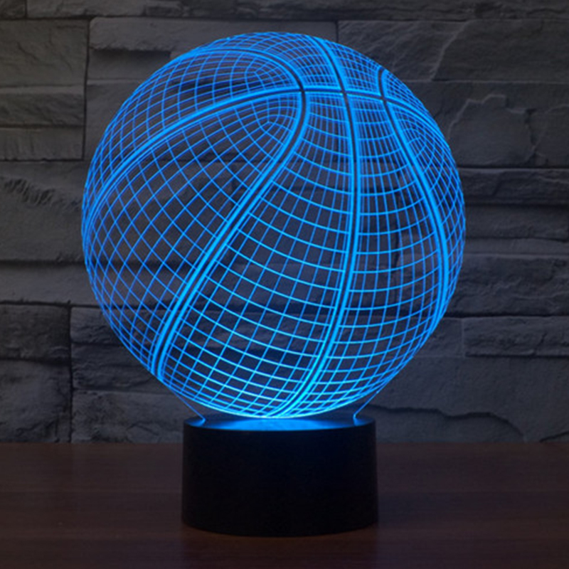 7 color Holiday Atmosphere Decorative Kids Basketball Style 3D Ilusion LED Night Light(China (Mainland))