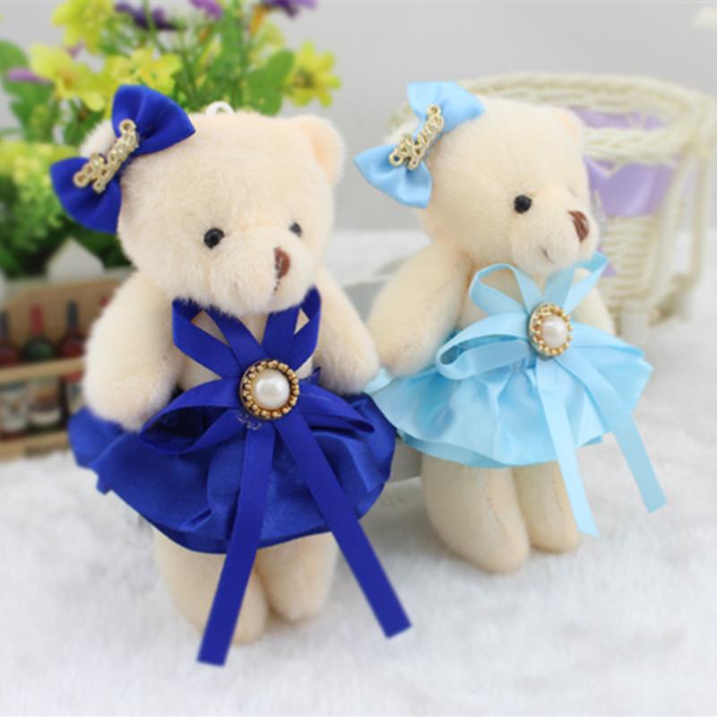 New 11cm 12pcs/lot Mini Teddy Bear in Skirt Plush Pendant Toys Big Head Bear Stuffed Dolls Gift Wedding Flower Decor(China (Mainland))