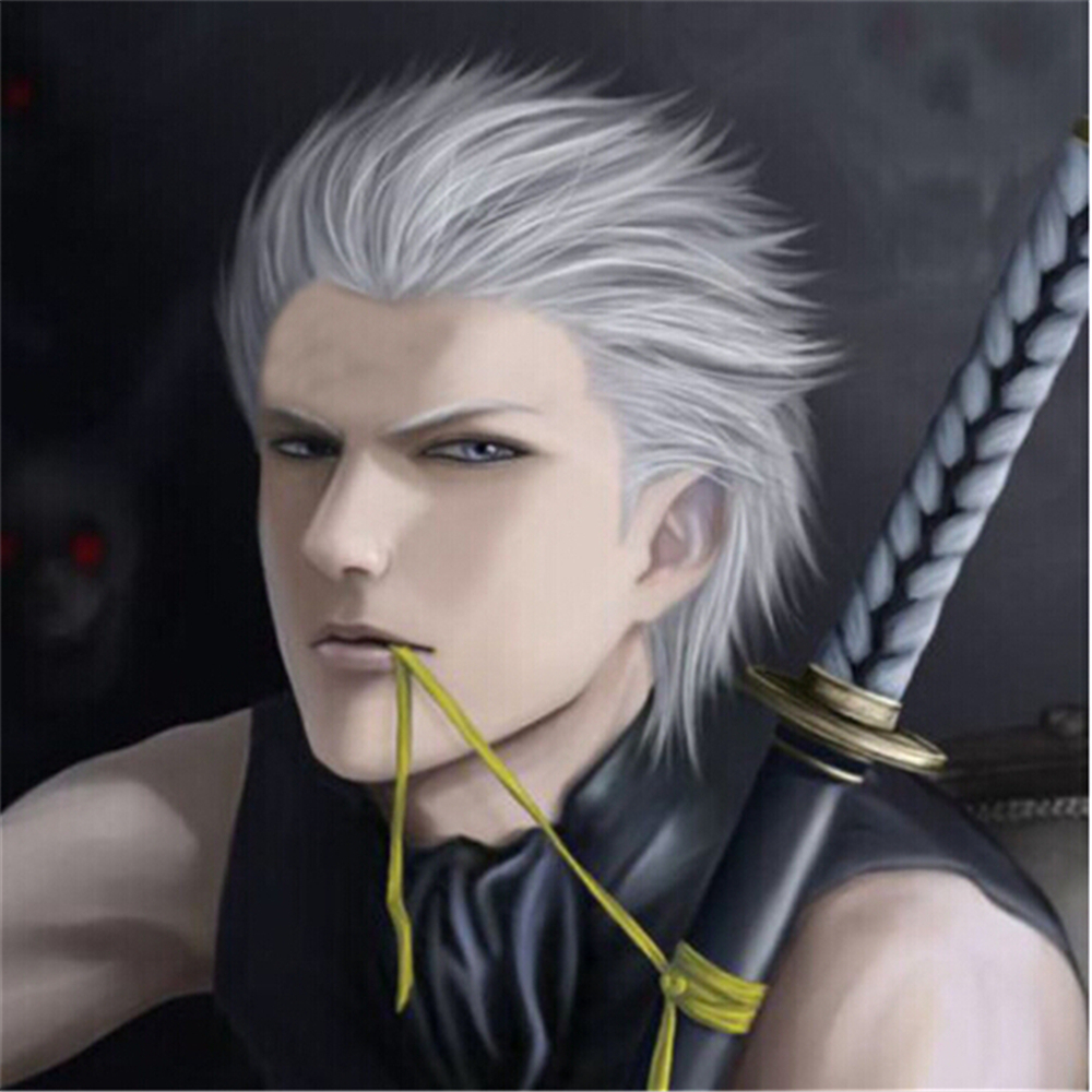 Devil May Cry Kushina Vergil Silver White Short Synthetic Hair Full Lace Wigs Vergil High Quality Cosplay Wig Free Shipping