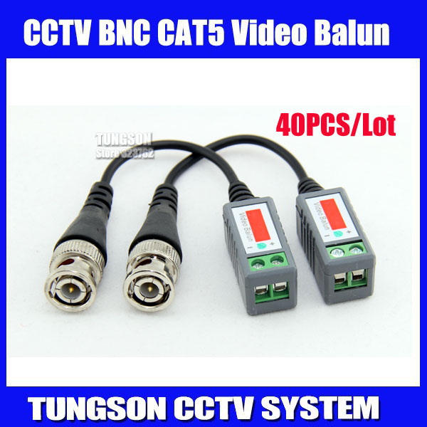 40pcs lot Twisted BNC Video Balun Passive Transceivers UTP Balun BNC Cat5 CCTV UTP Video Balun up to 3000ft Range Free shipping(China (Mainland))