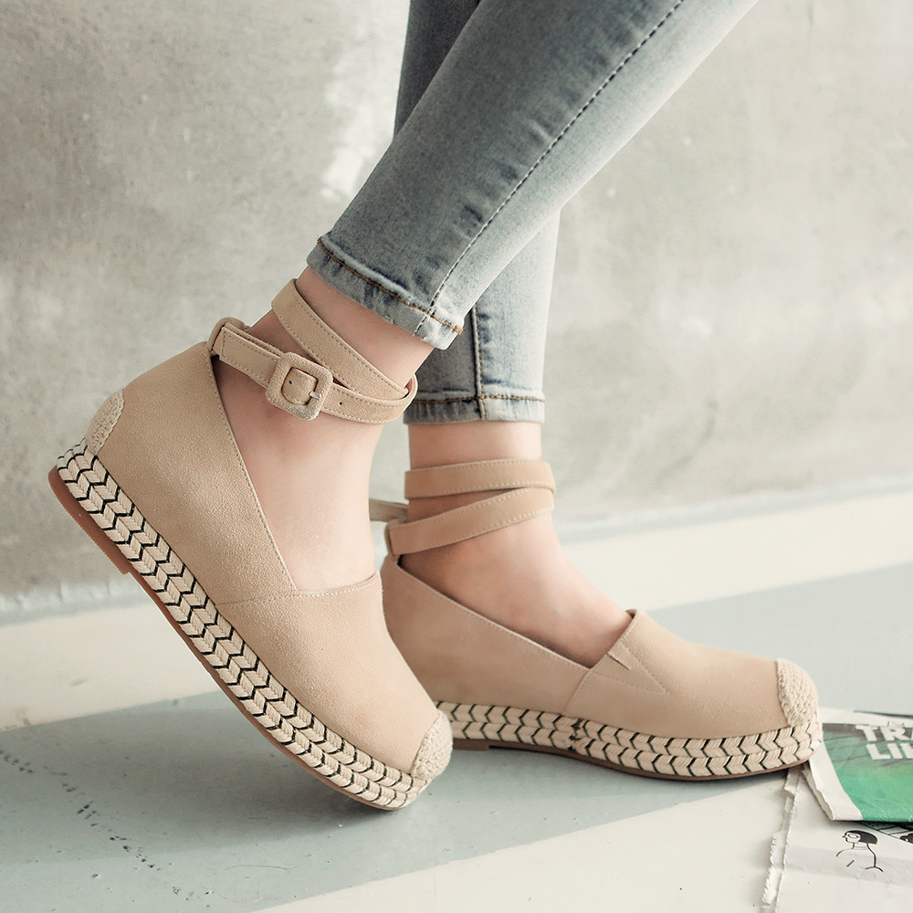 2016 Spring Autumn Platform Flats Loafers Ankle Strap Moccasins Shoes for Women Espadrilles Genuine Leather Female Footwear Sale