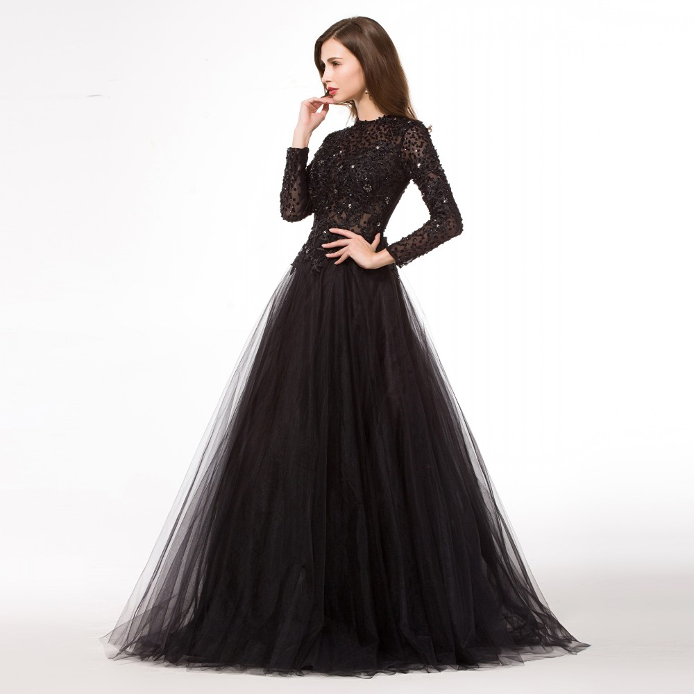 Black Ball Gown With Sleeves Aliexpress.com : buy long puffy black ...