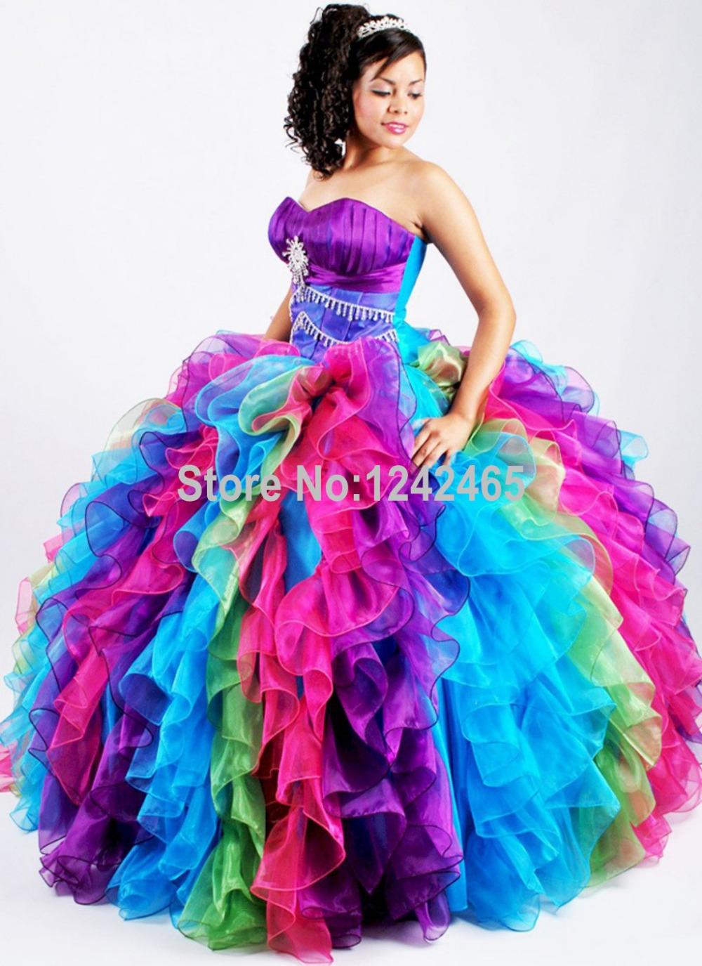 Coloridos Vestidos balón vestido de novia largo con