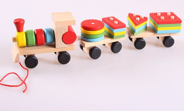Multicolor Assembling Wooden Building Block Train Baby Trailer Toys(China (Mainland))