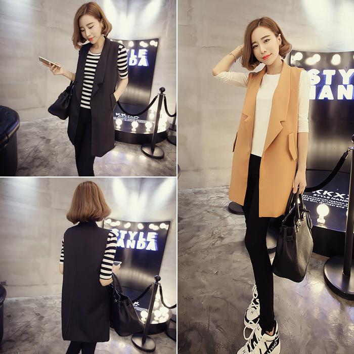 Гаджет  2015 new fall loose thin long sleeveless vest jacket collar suit vest female Korean solid None Изготовление под заказ