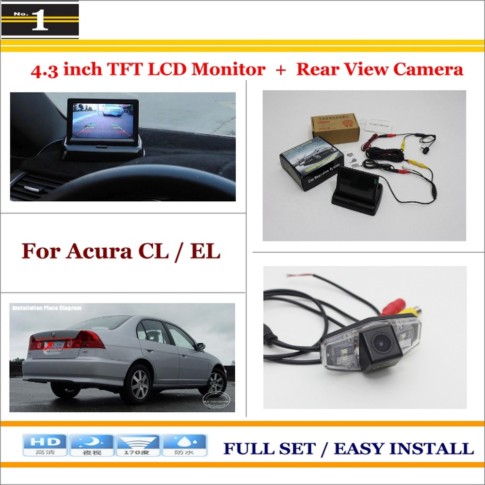 """Auto Rear View Camera Back Up + 4.3"""" LCD Monitor = 2 in 1 Parking Assistance System - For Acura CL / EL(China (Mainland))"""