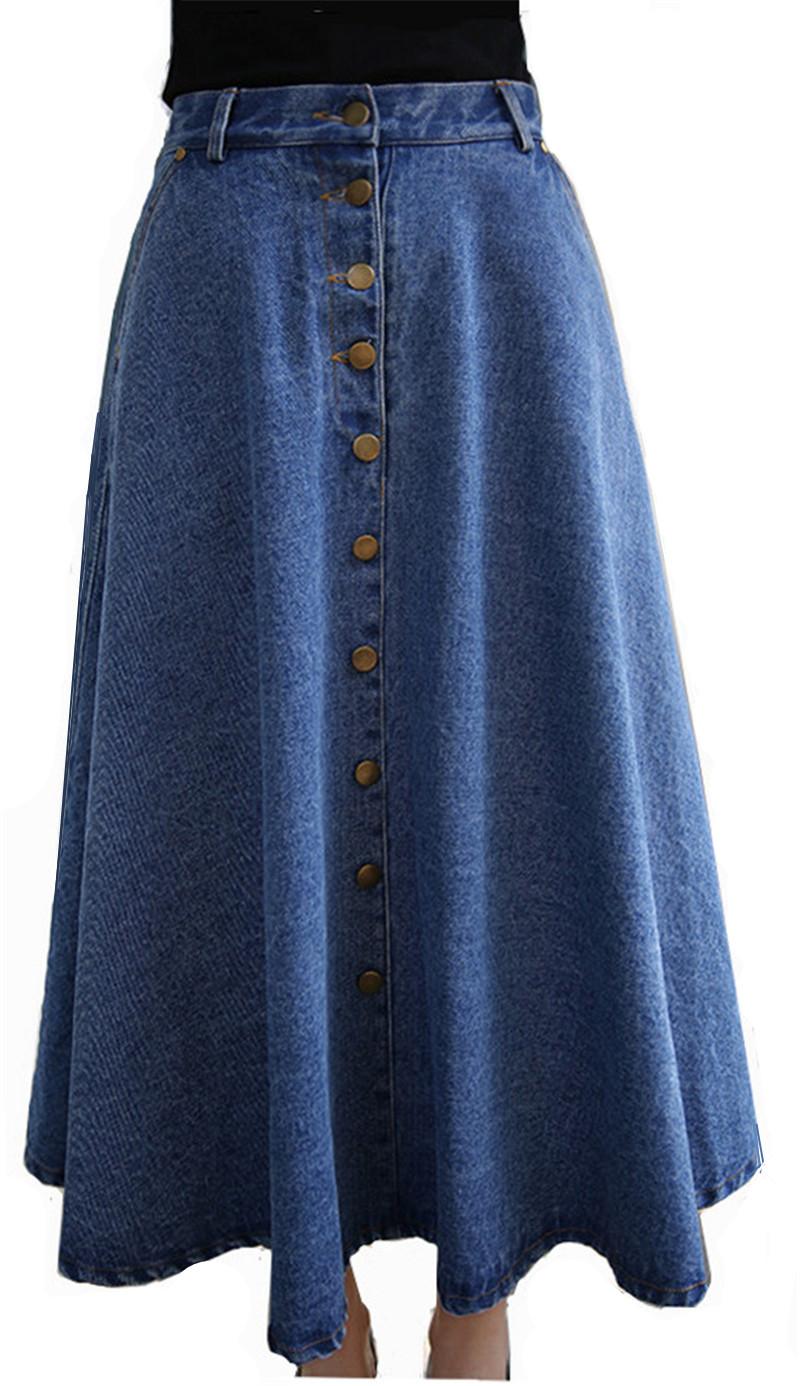 denim skirts high waist autumn winter a line