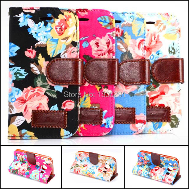 Fashion Leather & Fabric Wallet Case For Samsung galaxy Ace 4 G313 G313H with card holder Cell phone cover cute Flower(China (Mainland))