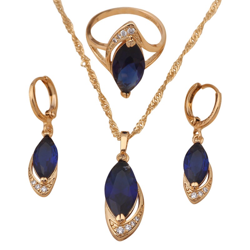 18K Gold plated Topaz Jewelry Blue Zirconia Necklaces & Pendants Earrings ring Fashion Jewelry Set  Ring sz #7 #8 #9 JS513A