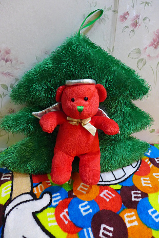 christmas tree bear 29cm plush toy doll gifts for kids free shipping yx101(China (Mainland))