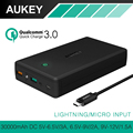 AUKEY 30000mAh Quick Charge 3 0 Power Bank Dual USB Output Mobile Portable Charger External Battery