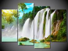 4 Panel Free shipping Natural waterfall print painting on canvas Wall Art Picture Home Decoration/we313