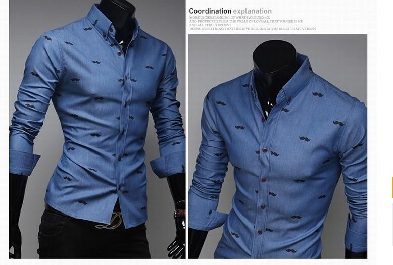Faldas Tunik  men's camisas hombre Office dress poloрубашка Social imported cloТонкийg Moustache Повседневный shirt leopard shirt N15 HY
