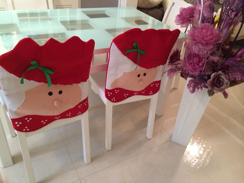 1 Pair Christmas Chair Covers Santa Claus New Year Decorations Xmas Ornaments navidad Home Decor Hats Snowman Merry Christmas(China (Mainland))