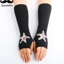 2016 New Wholesale Autumn Winter Women's Wool Arm Warmers Knitted Arm Sleeve Black Rhinestone Fingerless Long Half Finger Gloves(China (Mainland))