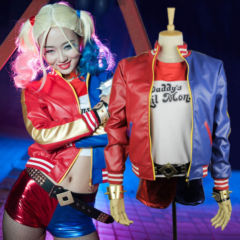 6 set Movie 2016 Suicide Squad Harley Quinn costume women sexy party cosplay halloween costumes for women plus size custom