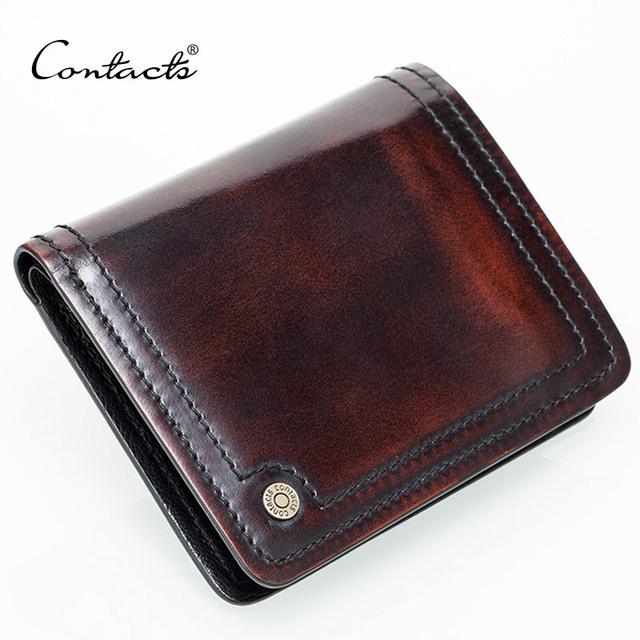 Небольшой кожаный бумажник мужчины ручной вороненые италия кожаный кошелек фото держателей ...