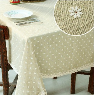 "222# square 140cm/55"" little flower hot sale table cloth tablecloth mat cover cotton&linen lace letter freeshipping wholesale(China (Mainland))"