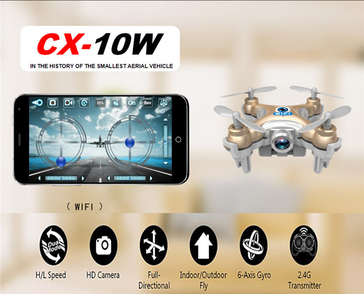 Cheerson CX-10W Mini Wifi 2.4G HD Camera FPV Camera RC Quadcopter Transmission RC drone Hobby Mobile Control Helicopter(China (Mainland))