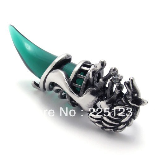 Punk rock accessories stainless steel fashion new hot sale green pendant necklace 591002063423 free shipping(China (Mainland))