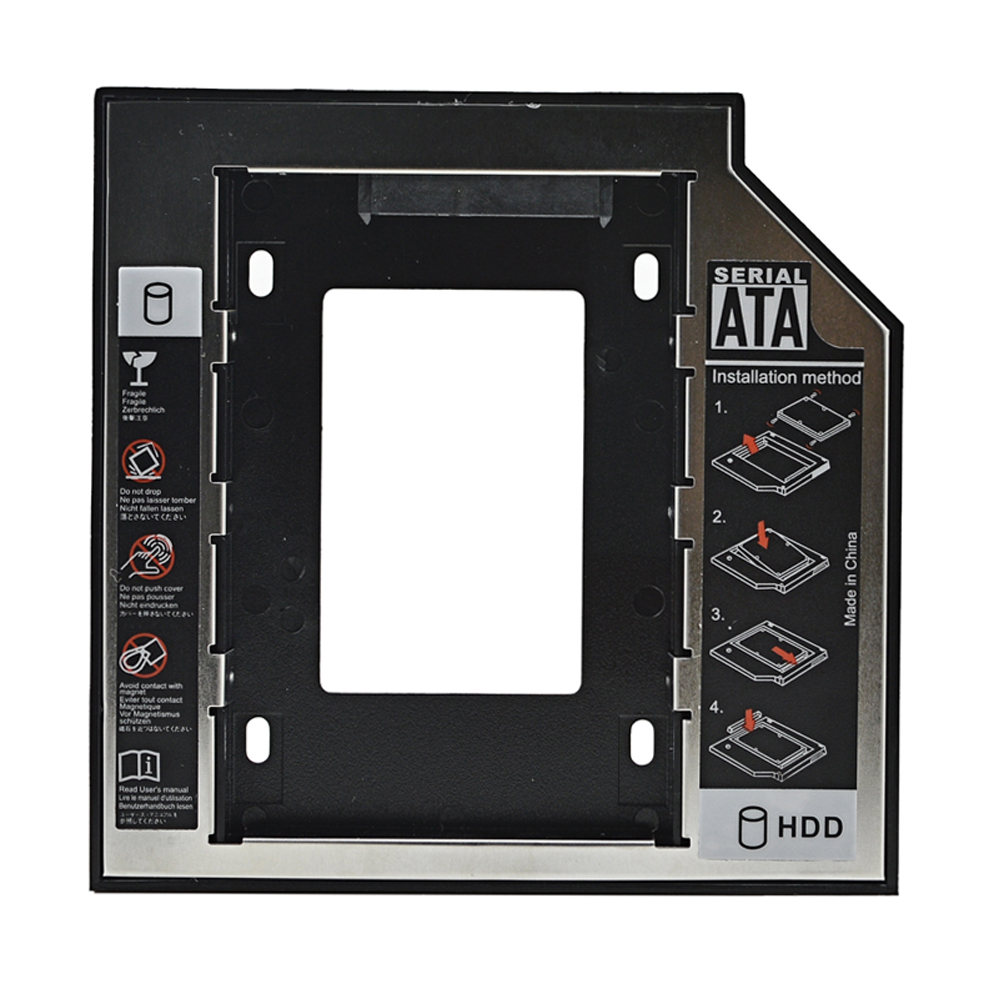 "Universal Aluminum Plastic 12.7mm HDD SSD SATA caddy For 2.5"" Hard Disk Driver Case Enclosure DVD CD-ROM Optibay(China (Mainland))"