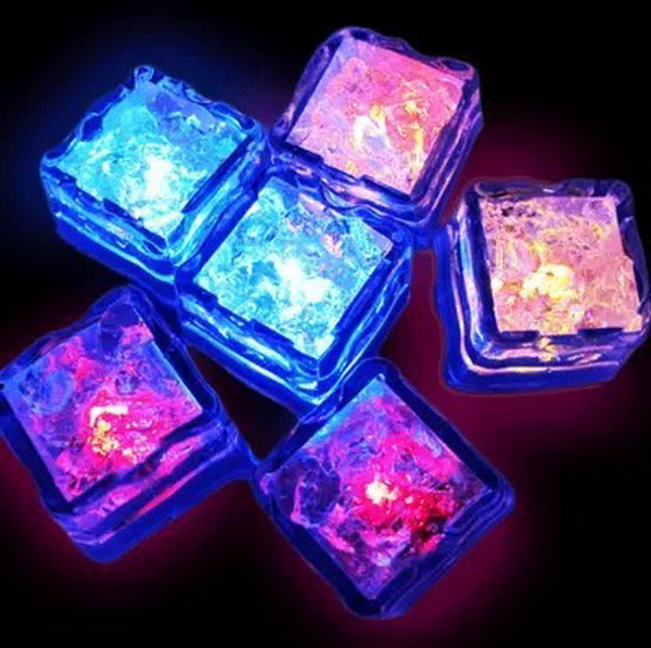 50% sihpping fee 120pcs Wedding Birthday Christmas Party Decoration 7 Colors Changing LED Ice Cubes Colorful Novelty Lovely Cute(China (Mainland))
