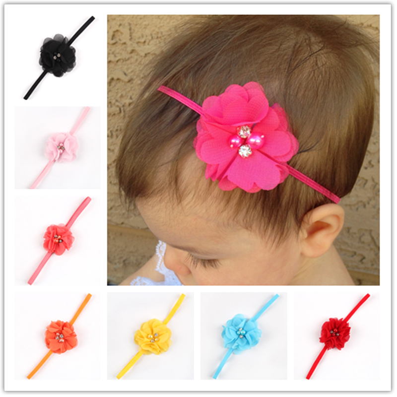 wholesale Newborn Baby Girls Lace Pearl Flower Headbands For Photography Props Infant Baby Headband W544