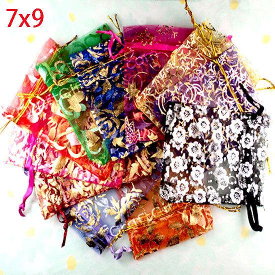 100 Random Mixed Drawable Organza Wedding Gift Bags&Pouches 7x9cm(w00459)(China (Mainland))
