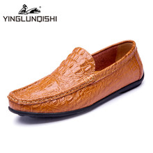 2016 Handmade  Leather Men Shoes Moccasins Shoes Men Flats Casual Men Loafers Crocodile Soft Leather Shoes High Quality