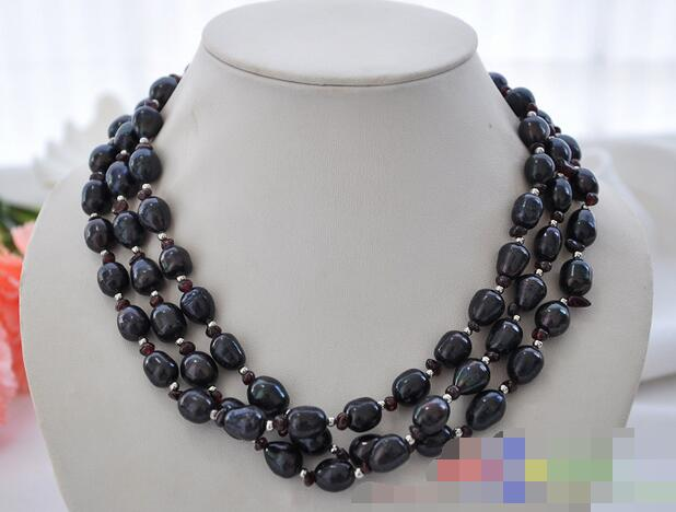 song voge gem nanJ2060 3row rice black freshwater cultured pearl garnet bead necklace(China (Mainland))