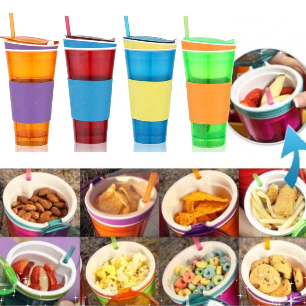 New Snackeez Travel Cup Snack drink In One Container Lid Straw Kids Snack bottle As Seen On TV(China (Mainland))