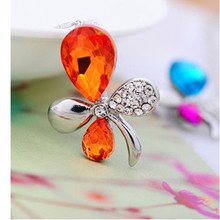2015 New Top Best Selling Gifts Selling the New Butterfly Orchid Crystal Fashion Sautoir Europe and the Necklace Free shipping(China (Mainland))