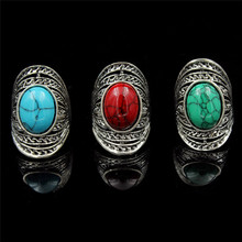 New Unique Boho Vintage Turquoise Rings Jewelry Women's & Love Punk Female Retro Wedding Rings With Large Green Stone Party Ring