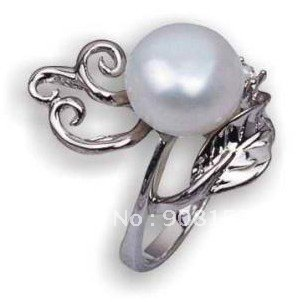 factory price 925 silver leafage ring with 8 9mm