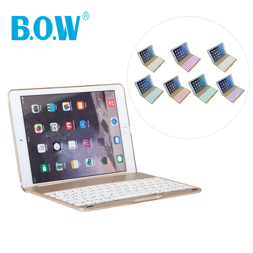 For iPad air 2 Keybaord (BACKLIT), Aluminum Folio Shell ABS Wireless Bluetooth Slim Keyboard Case Cover [Intelligent Switch](China (Mainland))