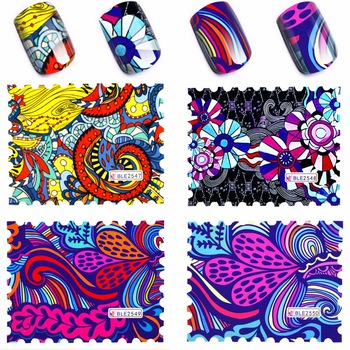 YZWLE 4 Pcs/Lot 2017 New Arrival Nail Art Stickers Decals Water Transfer Wraps Decorations Nails Care Tools