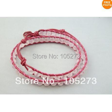 Free Shipping New Arriver Chirstmas Party Jewellery ! Natural Pink Rose Quartz 6mm Round 2Rows 16inch Pink Leather Wrap Bracelet<br><br>Aliexpress