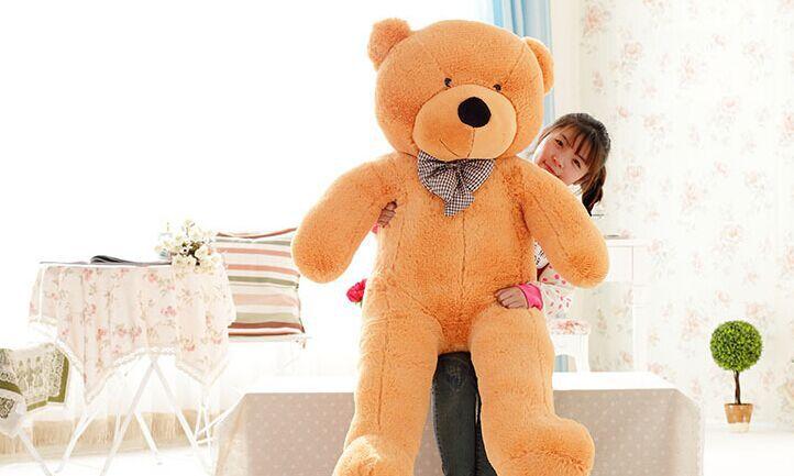 80cm/100cm big teddy bear giant bear stuffed toy doll lift size teddy bear plush toy valentine day(China (Mainland))