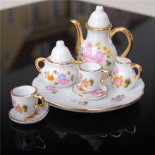 8pcs/set Tea Cup Set Antique Dollhouse Miniature Furniture Toys Kitchen Chinoiserie Mini Dining Saucer&Plate for 1:6 Doll House(China (Mainland))