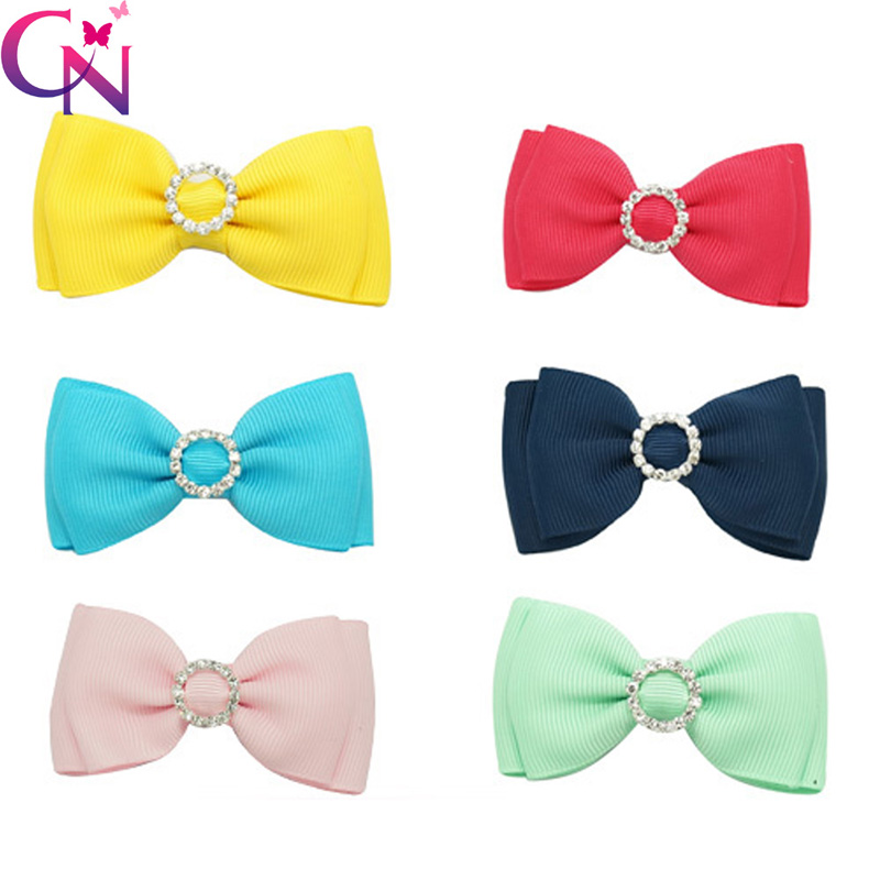 """30 Pcs/lot 3"""" Handmade Boutique Solid Ribbon Hair Bow With Rhinestone Center For Baby Girls Fashion Mini Hair Accessories(China (Mainland))"""