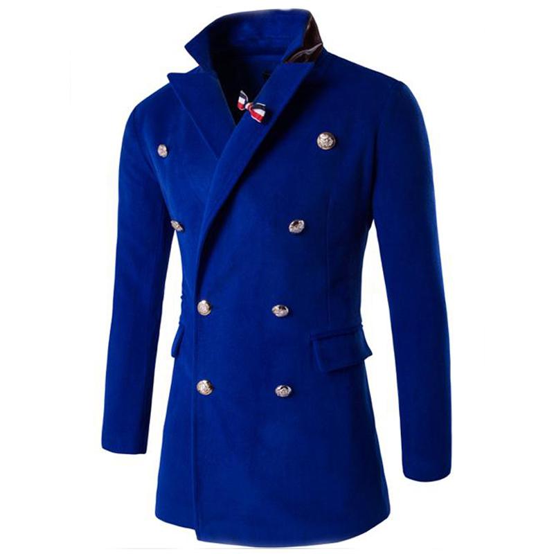Korean Fashion Style Men's Coat Unique Brooch accessories Slim long parka men double breasted Solid jacket 2017 autumn new