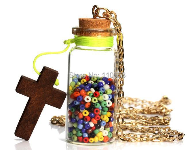 free shipping new design wood cross pendant beads glass lucky bottle necklac(China (Mainland))