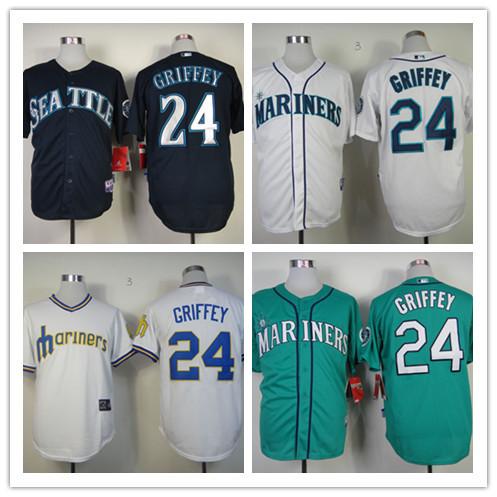 Ken Griffey Jr Jersey  Seattle Mariners Throwback Jerseys # 24  Size Small ~ 3XL Free Shipping(China (Mainland))
