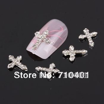 Xmas Free Shipping Wholesale/ Nails Supply, 50pcs 3D Alloy Cross DIY Acrylic Nails Design/ Nails art, Unique Gifts Novelty Items