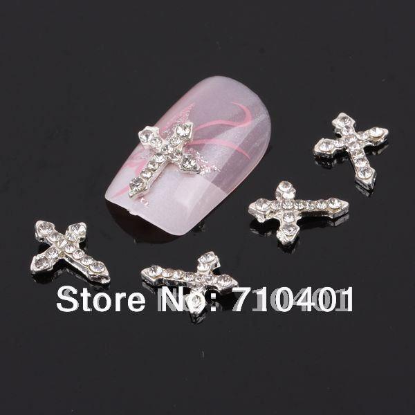 Xmas Free Shipping Wholesale/ Nails Supply, 50pcs 3D Alloy Cross DIY Acrylic Nails Design/ Nails art, Unique Gifts Novelty Items